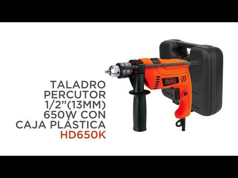 "TALADRO PERCUTOR BLACK+DECKER 1/2"" (13MM) 650W CON CAJA PLÁSTICA HD650K"
