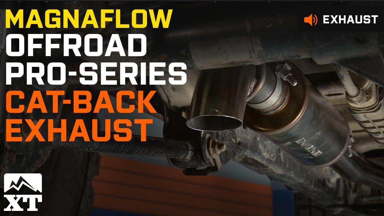jeep wrangler magnaflow offroad pro series cat back 2007 2017 jk exhaust sound clip install