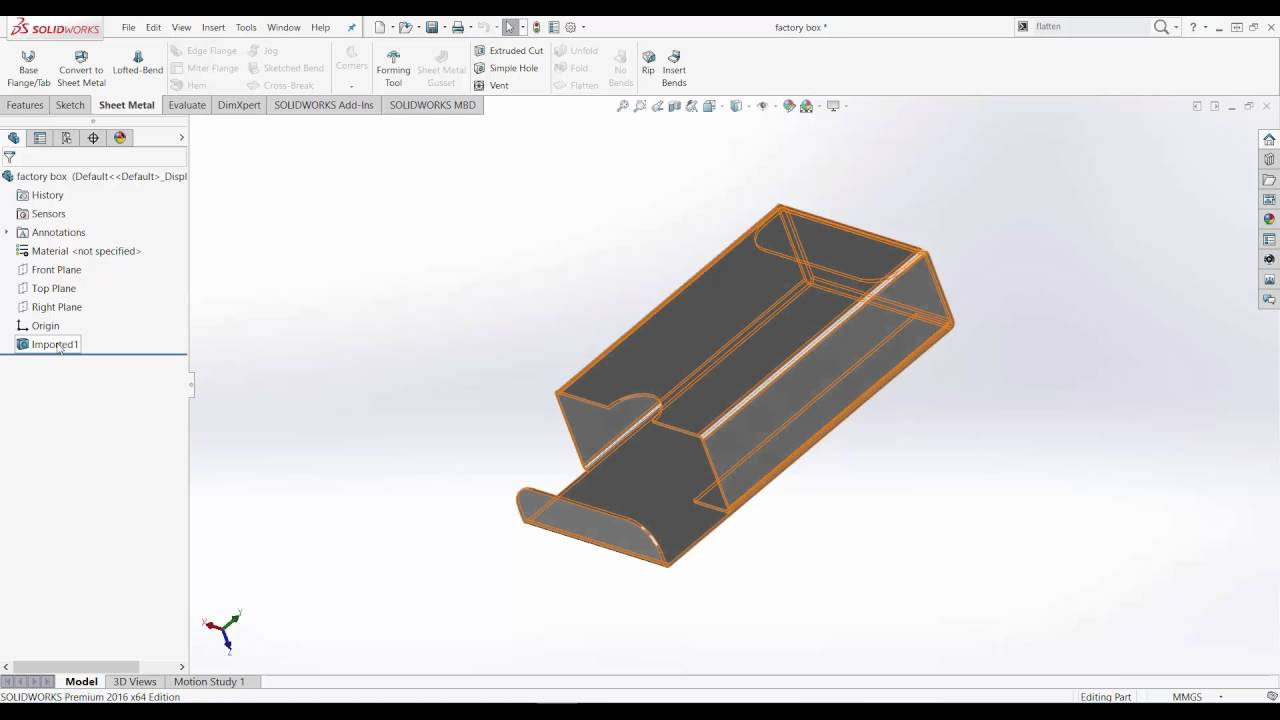 Import Inventor Sheet Metal Part Into Solidworks Youtube