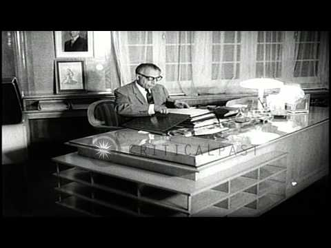 Premier Ali Amini of Iran in his office. HD Stock Footage