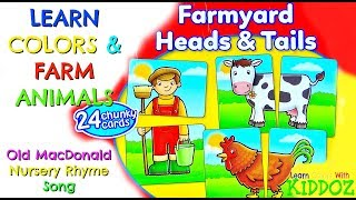 Learn Colors & Farm Animals with Puzzles & Old MacDonald Nursery Rhyme