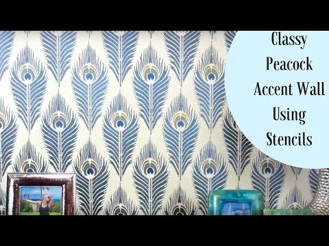 How To Stencil A Peacock Feather Accent Wall!