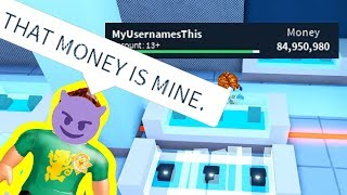 CHEATER TRIES TAKING ALL MY MONEY... | Roblox Jailbreak Mint Update