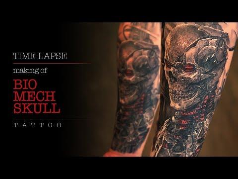 Realism Tattoo Timelapse - Making of Bio Mech Skull