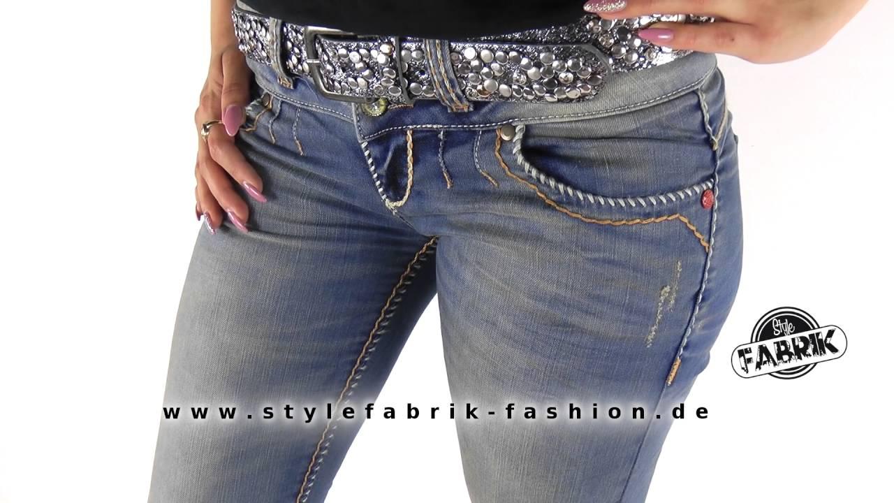 stylische damen jeans von cipo baxx destroyed look mit goldenen ziern hten blau youtube. Black Bedroom Furniture Sets. Home Design Ideas