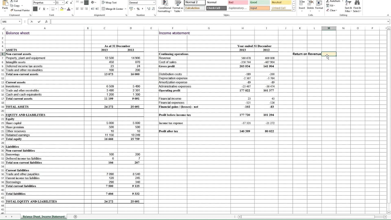Calculating Return On Revenue In Excel