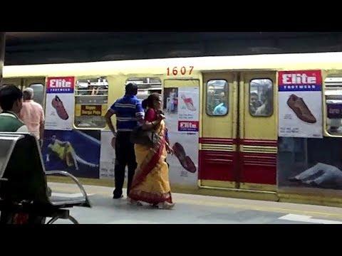 Kolkata Metro Train (কলকাতা পাতাল রেল) of Indian Railway Entering & Departing Station. thumbnail