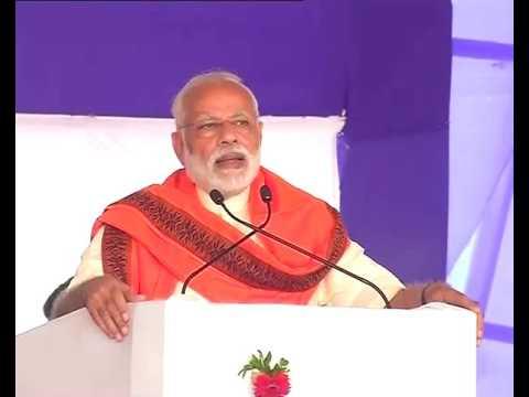 PM Narendra Modi addresses a gathering in Surat, Gujarat