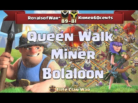 Royalsofwar^ vs Khmer60cents | Queen Walk, Bolaloon, Miner.. |3 Stars War TH11 | ClanVNN #239