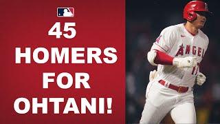 Shohei Ohtani DEMOLISHES his 45th HR of the season to put him 1 behind the MLB lead!