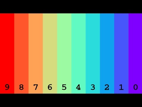 Numbers from 0 to 1,000,000,000 with colors