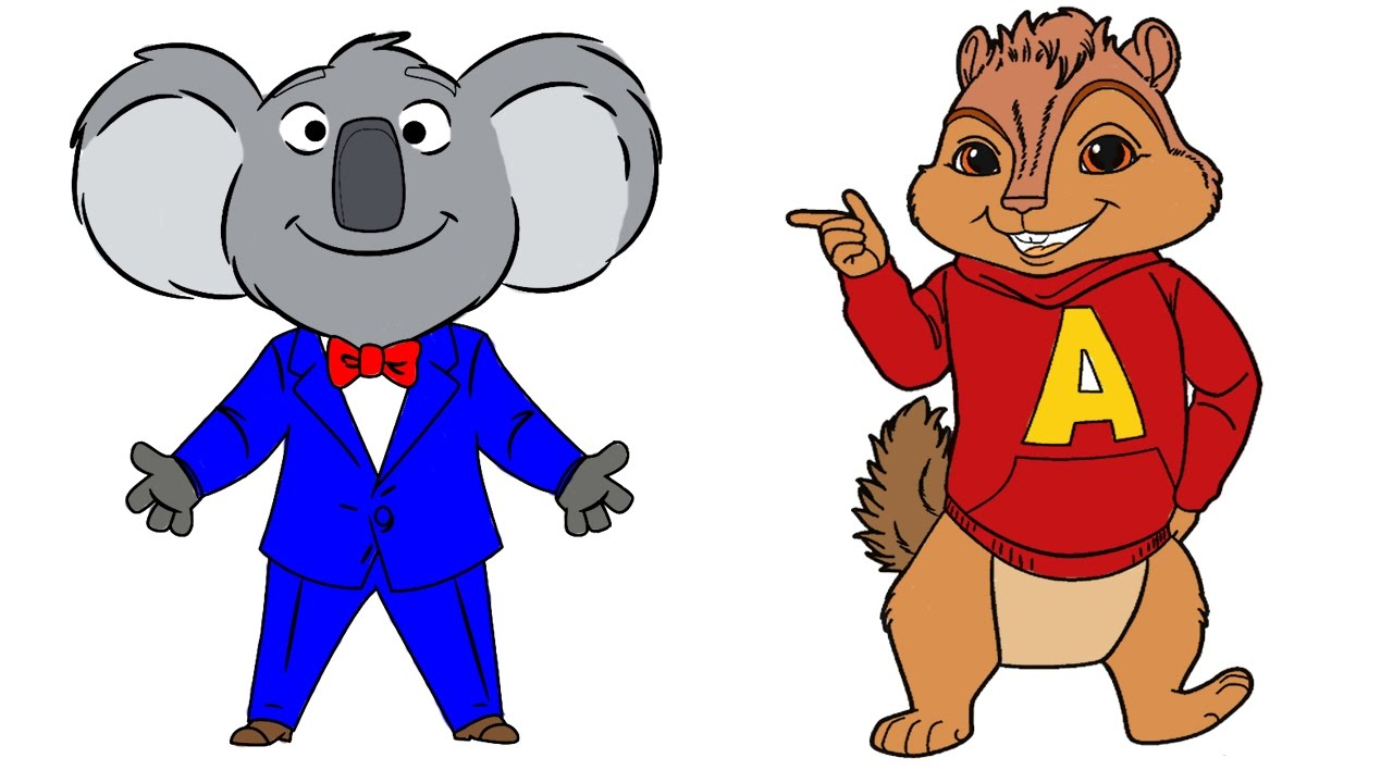 coloring pages sing movie and the chipmunks version buster and