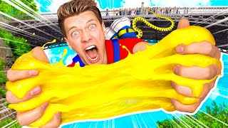 Extreme 140ft Bungee Jump VS Crazy Slime Making! First To Hit Target Wins Challenge!
