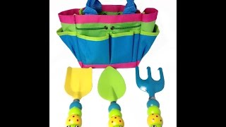 Review: Kids Garden Tool Set With Tote , Tools Handles Made As  Cute Bugs