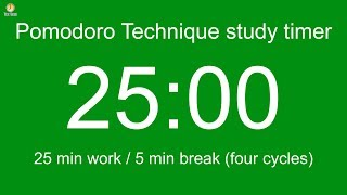 Pomodoro Technique study timer - 25 min work / 5 min break / 4 cycles over 115 min