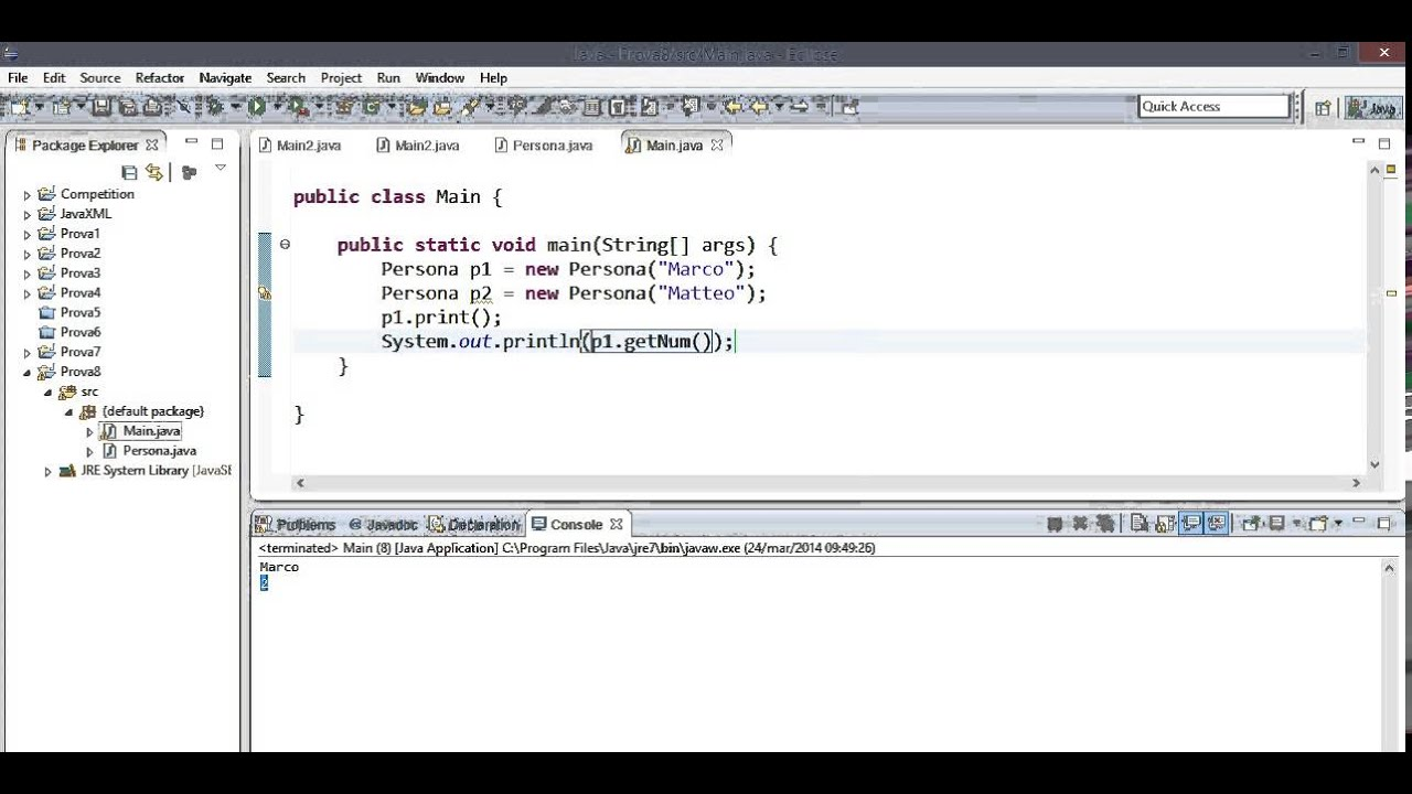 Java - uso della keyword static - YouTube