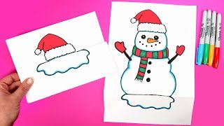 DIY Folded Surprise Snowman Drawing | How to Draw a Snowman | Easy and Fun Paper Crafts for Kids