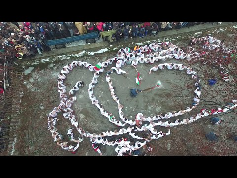 Epiphany Day Celebration In Kalofer, Bulgaria With A Drone