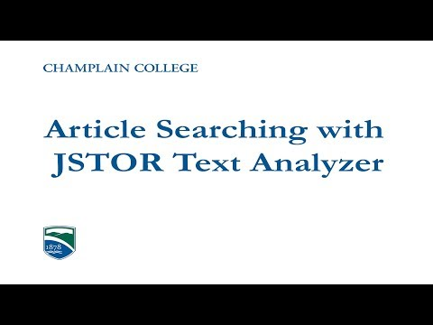 Article Searching with the JSTOR Text Analyzer