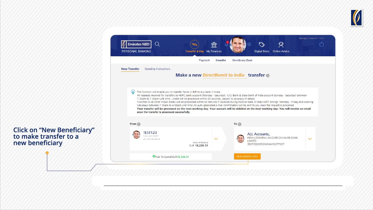 How To Do Directremit Transfers With Emirates Nbd Online Banking Youtube