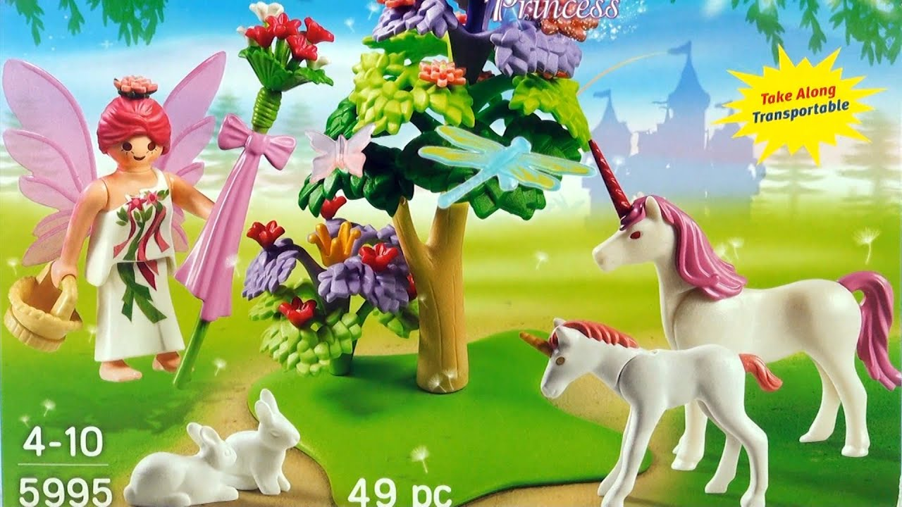 Playmobil Princess Prinzessin Fairy Garden With Unicorn Fantasy 5995 Pink Playset Toy Opening