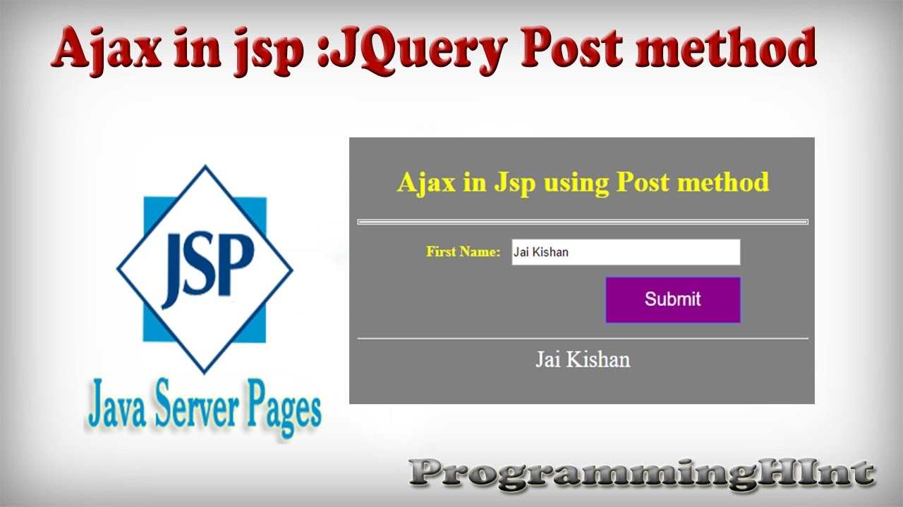 Ajax with jsp and servlet using jquery example | programmingfree.