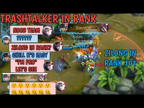 ZILONG IN RANK 101 | TRASHTALK AND FEED | MOBILE LEGENDS