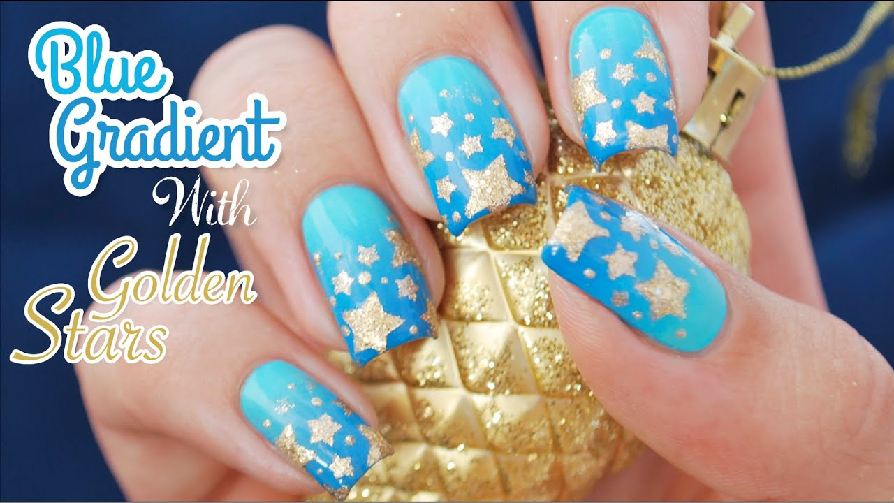 Blue Gradient With Golden Stars Nail Art Using Star Vinyls From