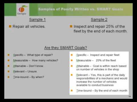Writing SMART Goals Self-Study Training. This video offers self-study training designed to help prepare managers and employees to write SMART goals as part of the performance management planning pro.... Youtube video for project managers.