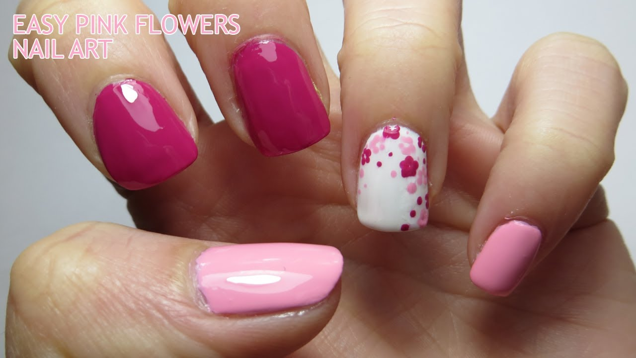 Easy Pink Flowers Nail Art Youtube