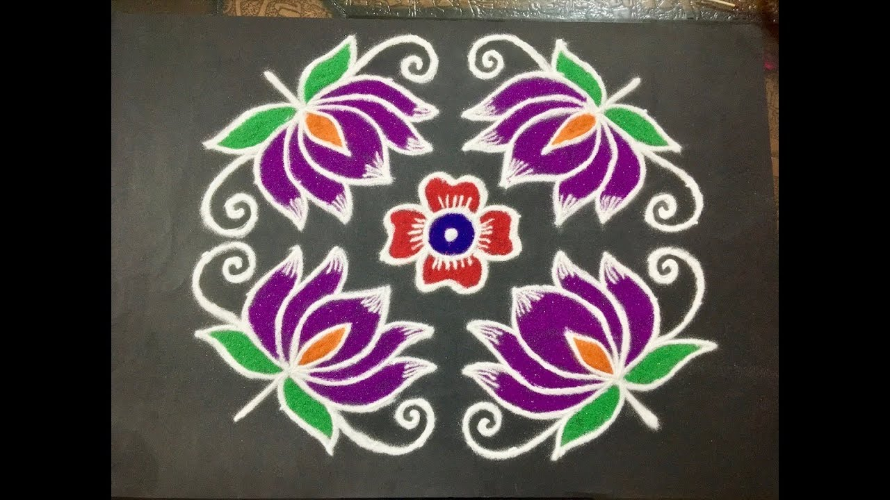 Beautiful Lotus Flower Rangoli Design With Amazing Colours Dots