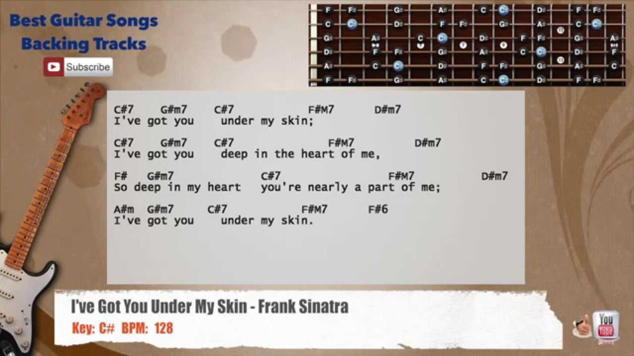 I Ve Got You Under My Skin Frank Sinatra Guitar Backing Track With Scale Chords And Lyrics Youtube
