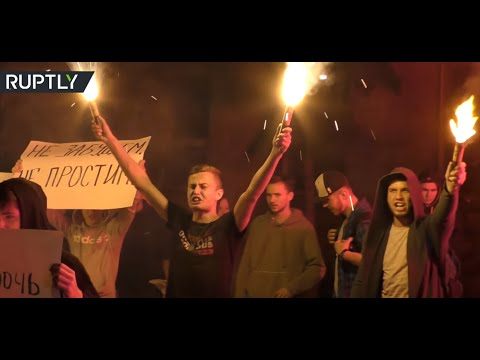 Flares and Eggs: Protesters gather outside Ukrainian embassy in Moscow