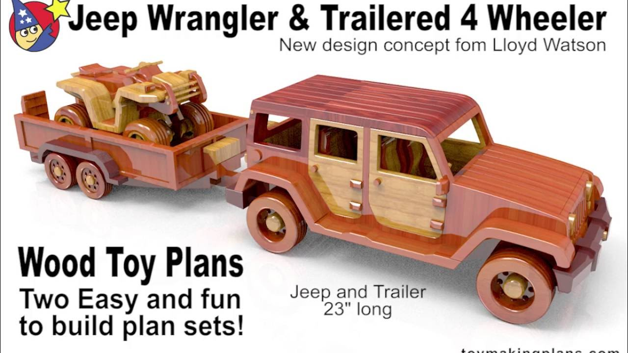 wood toy plans - jeep wrangler n trailered 4 wheeler