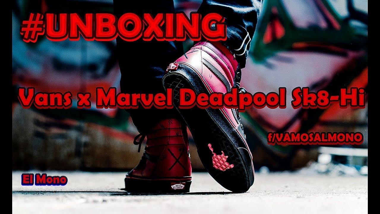 cad839b5269a7a UNBOXING VANS x MARVEL SK8-HI Deadpool Shoe - YouTube