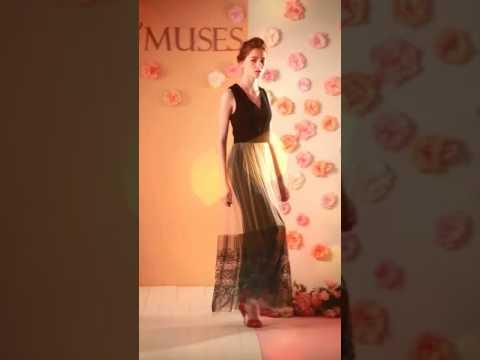 O'MUSES 28-1490 無袖刺繡紗裙長洋裝