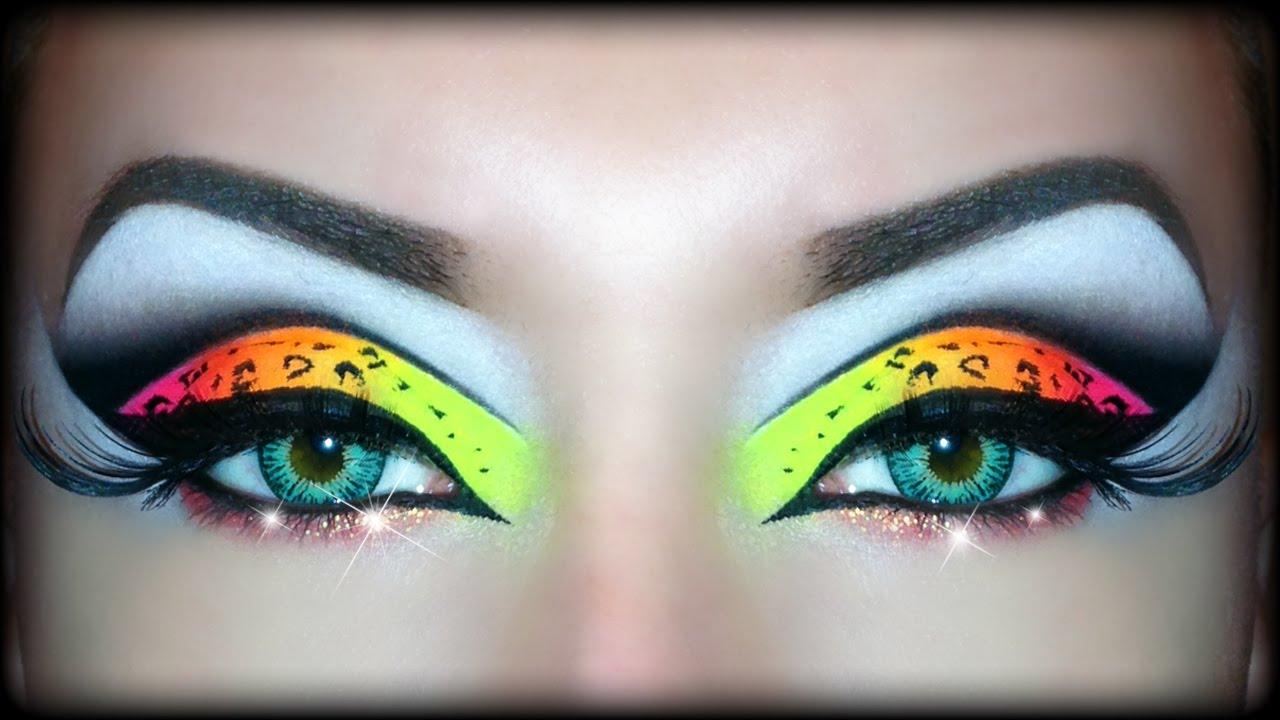 Neon Uv Leopard Print Makeup Tutorial Sexy Halloween Look Youtube