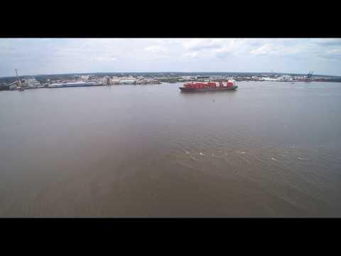 Container Ship Drone Video Delaware River