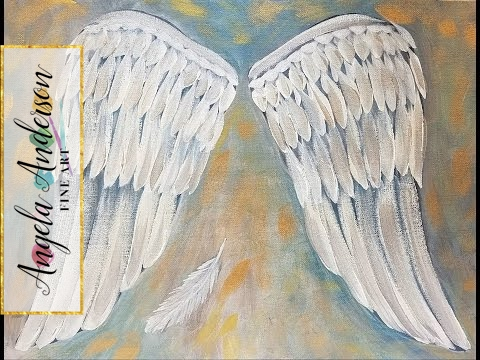 ANGEL WINGS Acrylic Painting Tutorial Easy Beginner Canvas LIVE
