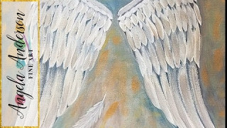 ANGEL WINGS Acrylic Painting Tutorial Easy Beginner Canvas LIVE