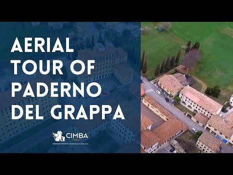 Aerial views of Paderno del Grappa, Monte Grappa, and the CIMBA campus