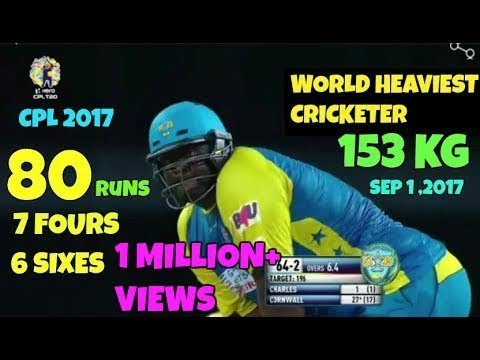 World's Giant Cricketer Cornwall Smashing 80 Runs (43 Balls) With 6 Huge Sixes vs Barbados Tridents