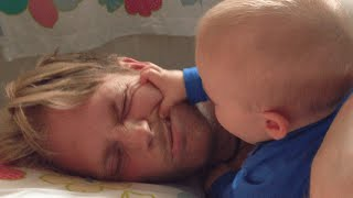 Funny Baby Tries to Wake Up Dad | Daily Heart Beat