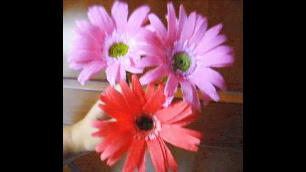 How To Make Paper Flowers Gerbera Daisy Flower 28 Youtube