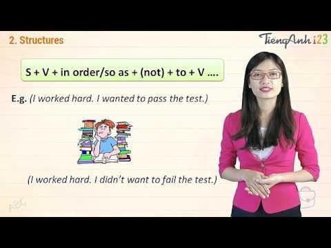 TIẾNG ANH - Học về cấu trúc câu: IN ORDER TO / SO AS TO.