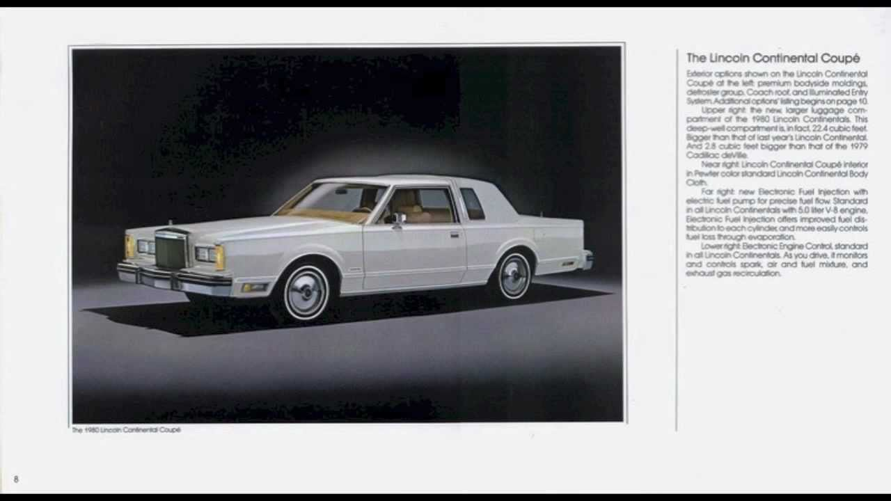 1980 lincoln continental town car brochure youtube. Black Bedroom Furniture Sets. Home Design Ideas
