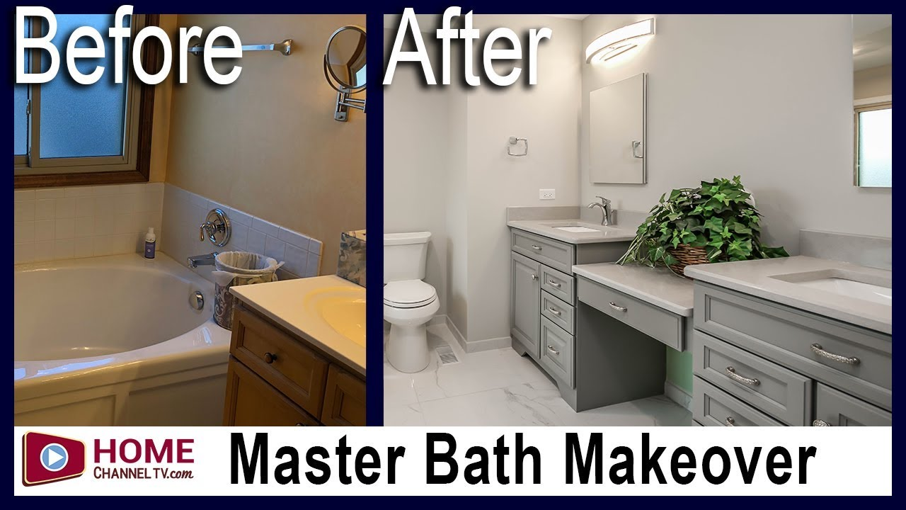 Master Bathroom Remodel Grey Cabinetry Before After Makeover Youtube