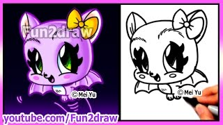 How to Draw Halloween Stuff - CUTE Bat - Draw Easy Things Best Fun2draw Art Drawings