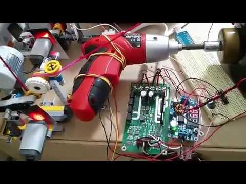 Addi Express knitting machine, electric screwdriver motor, LEGO yarn tensioners