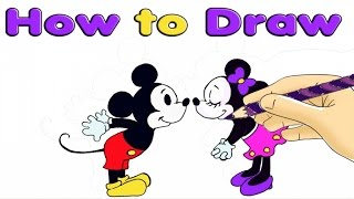HOW TO DRAW MICKEY AND MINNIE MOUSE FOR KIDS-Easy video for baby drawing learning//Preschool